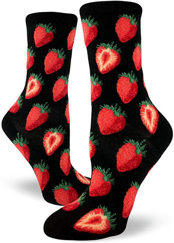 Sweet Strawberry Women's Crew Socks Black