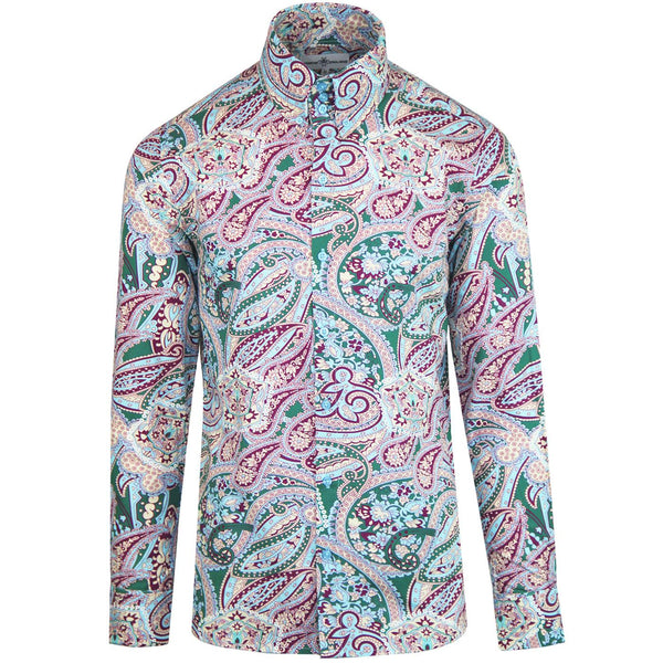 Sunrise Psychedelic Paisley High Collar Shirt