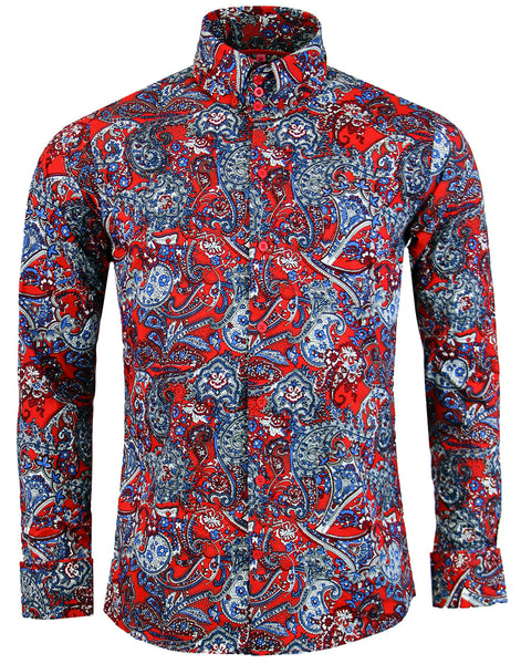 Sunset Paisley Button Down Shirt Red