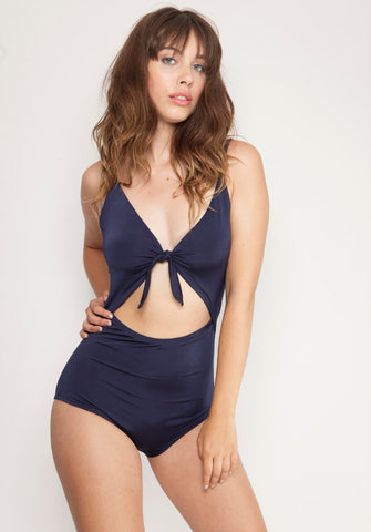 Tie One Piece Swimsuit Black
