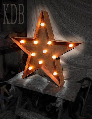 "Marquee 12"" Tangerine Star Metal Sign"