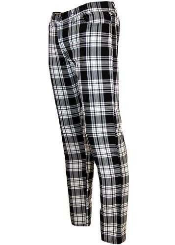 Tartan Slim Black & White Trousers