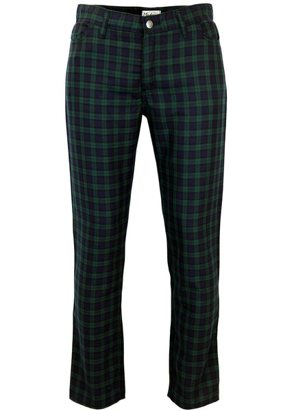 Tartan Slim Black & Green Trousers