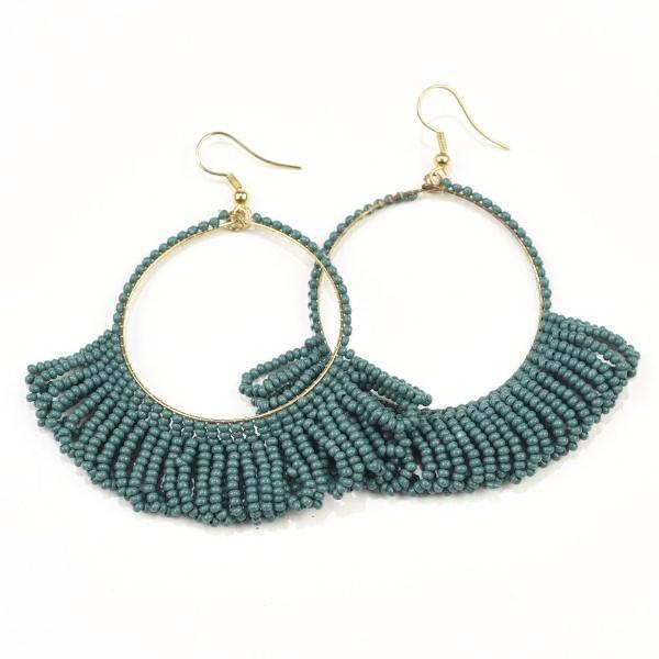Teal Seed Bead Earring Hoop with Fringe