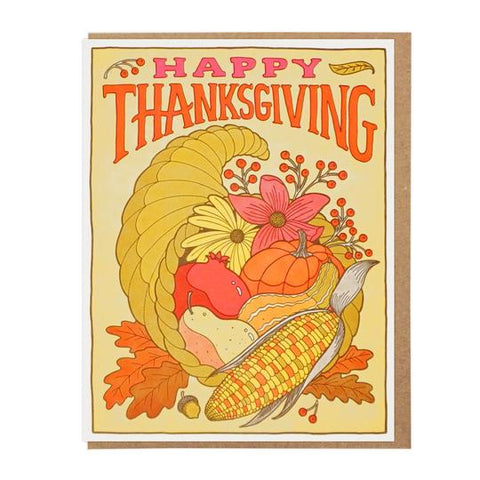 Happy Thanksgiving Cornucopia Greeting Card