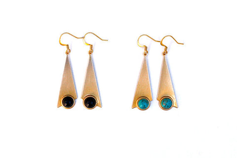 Slender Triangle Earrings Turquoise