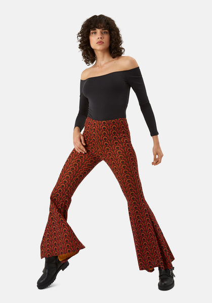 Flaunt and Flare Trousers in Red & Brown