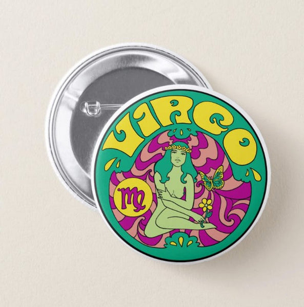 Virgo Zodiac Button Pin