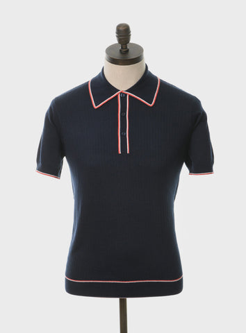 Woody Knitted Polo Shirt Navy Blue