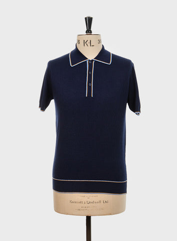 Woody Knitted Polo Shirt Navy