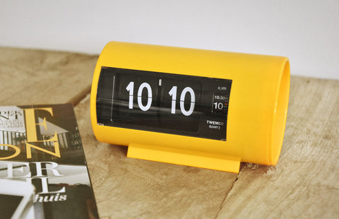 Retro Flip Clock with Alarm Yellow
