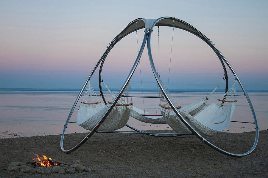 this is a great option if you have three hammocks you want to hang together including 2 person portable hammocks this design channels compressive forces