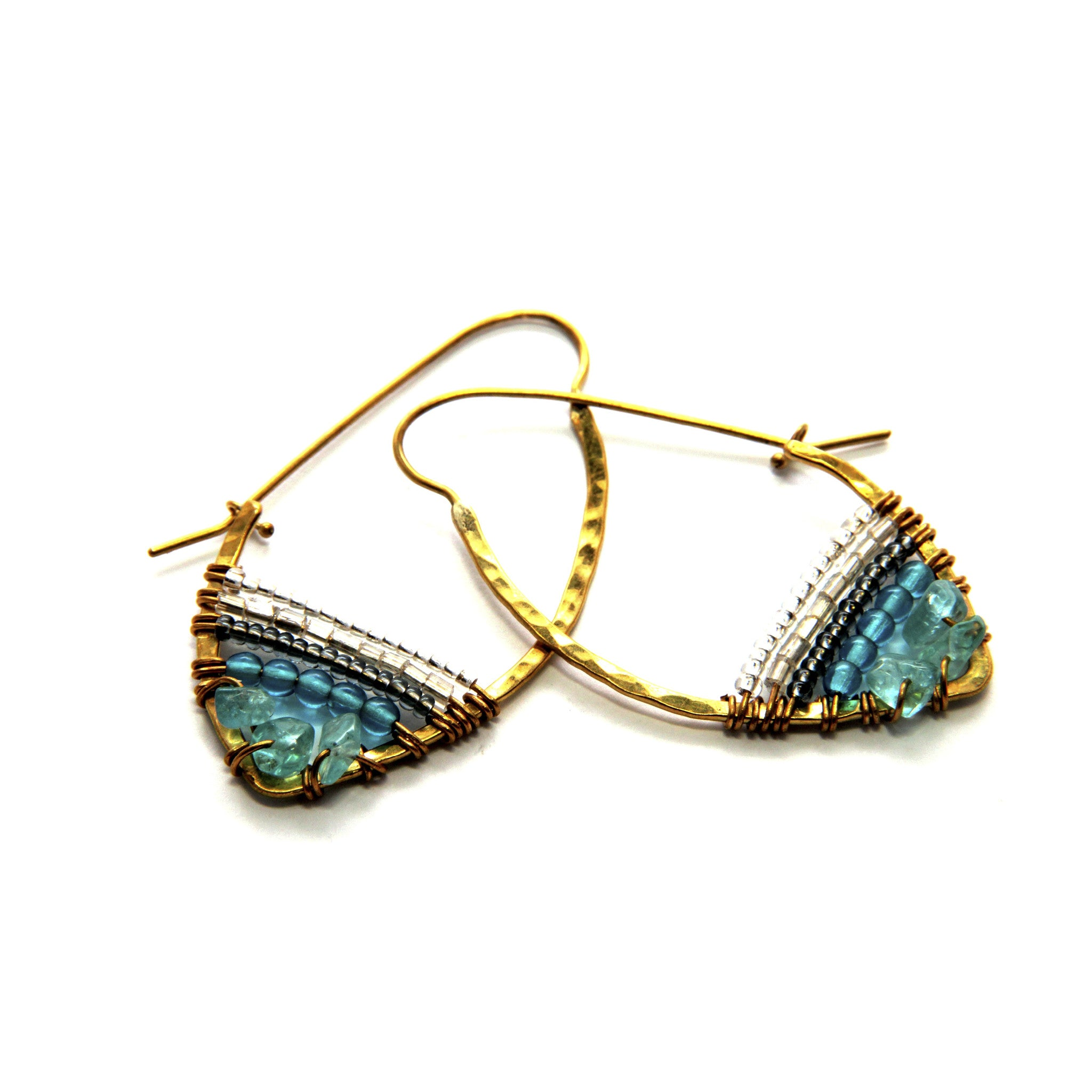 Stone Hoop Sky Collection Earrings