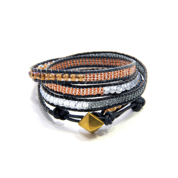 Navy Blush 4x Wrap Bracelet