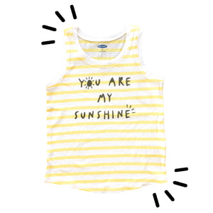 You Are My Sunshine, yellow stripe tank top