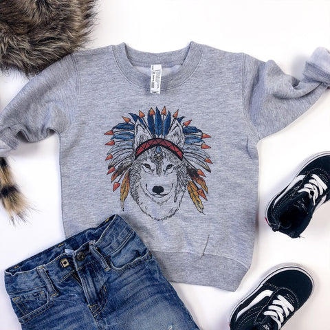 Love Warrior, Wolf, grey sweatshirt