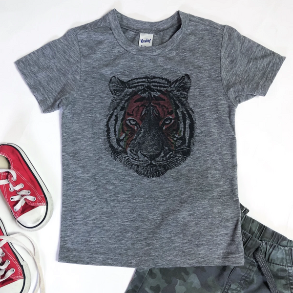 Rocker Tiger, grey tshirt