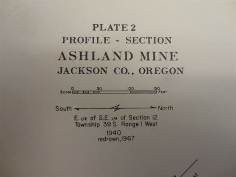 GEOLOGY MAP PLATE 2 ASHLAND MINE JACKSON CO OREGON MINING MINE TOPO USGS 1967 67