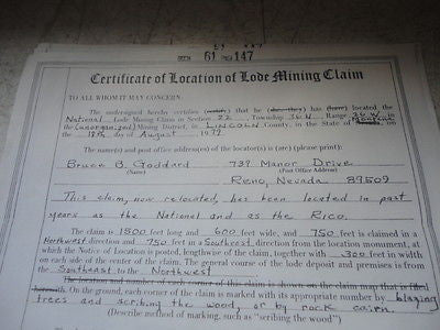 CERTIFICATE OF LOCATION OF LODE MINING CLAIM WASHOE NEVADA 1979