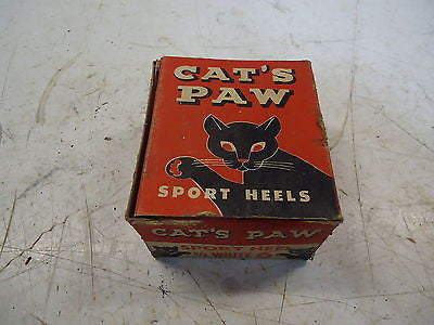 VINTAGE CATS PAW HEELS WHITE WOMANS WOMEN WOMAN SHOE HEEL OLD