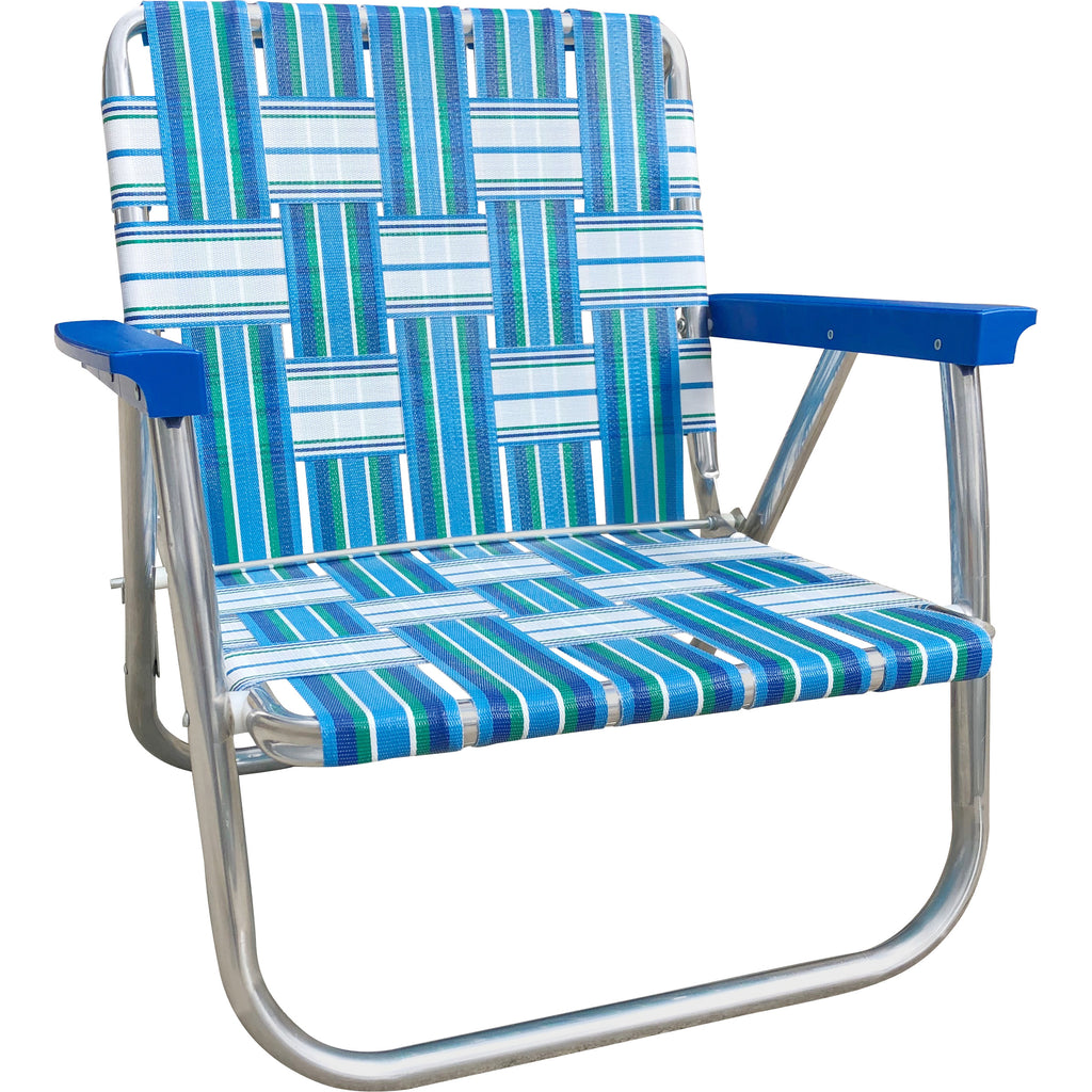 Sea Island Low Back Webbing Aluminum Beach Chair with Blue Arms