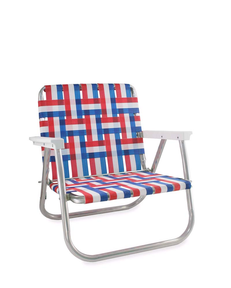 Lawn Chair USA Old Glory Folding Aluminum Webbing Beach Chair with White Arms