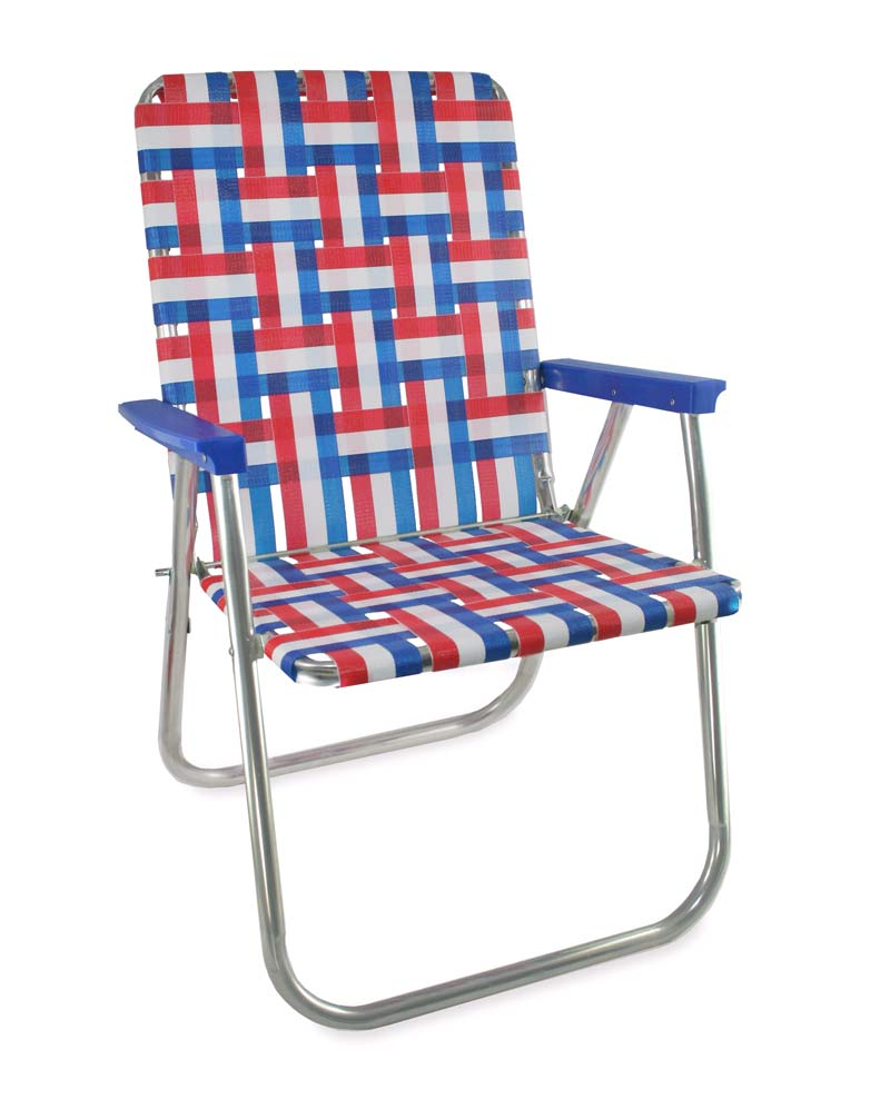 Lawn Chair USA Old Glory Folding Aluminum Webbing Classic Chair with Blue Arms