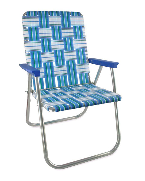 Lawn Chair USA Sea Island Folding Aluminum Webbing Classic Chair with Blue Arms