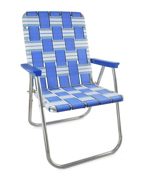 Blue Sands Folding Aluminum Webbing Lawn Chair Deluxe with Blue Arms
