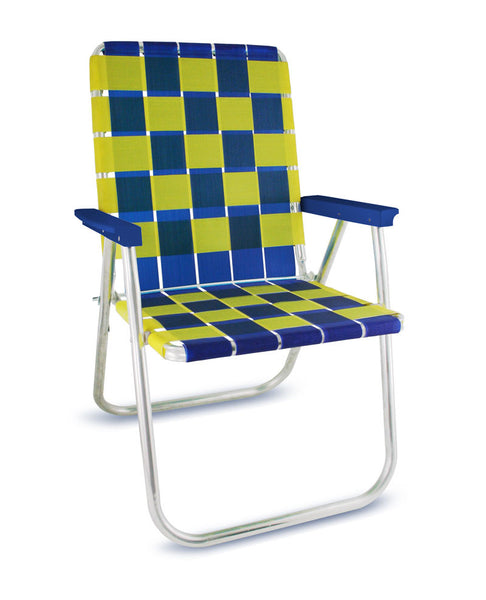 Blue/Yellow Folding Aluminum Webbing Lawn Chair Deluxe