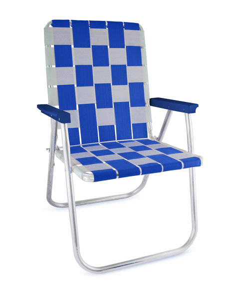 Blue/White Aluminum Folding Webbing Lawn Chair Deluxe