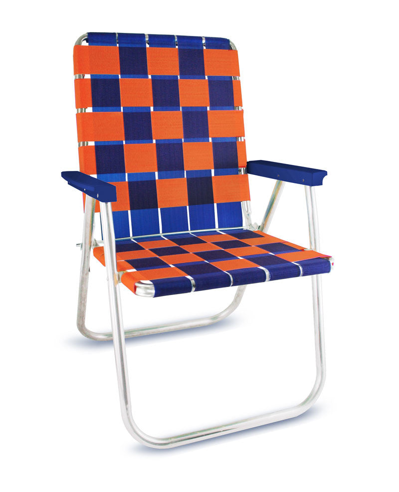 Blue/Orange Folding Aluminum Webbing Lawn Chair Deluxe