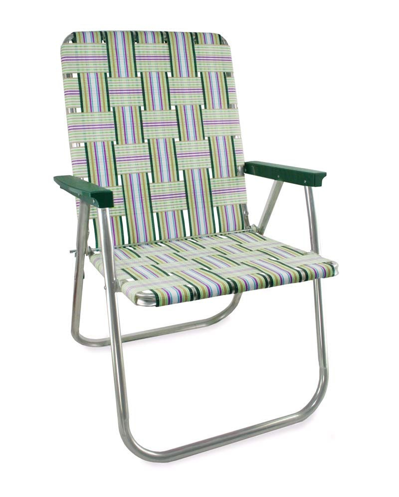 Lawn Chair USA Spring Fling Folding Aluminum Webbing Chair with Green Arms