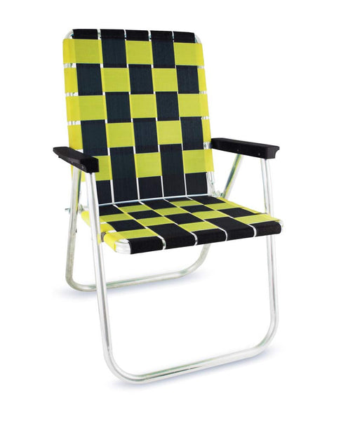 Black/Yellow Folding Aluminum Webbing Lawn Chair Deluxe