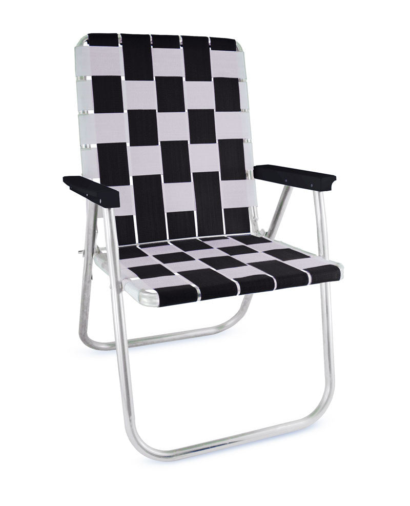 Black/White Folding Aluminum Webbing Lawn Chair Deluxe with Black Arms