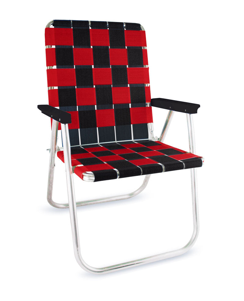 Black/Red Folding Aluminum Webbing Lawn Chair Deluxe