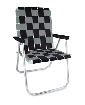 Black/Silver Folding Aluminum Webbing Lawn Chair Deluxe