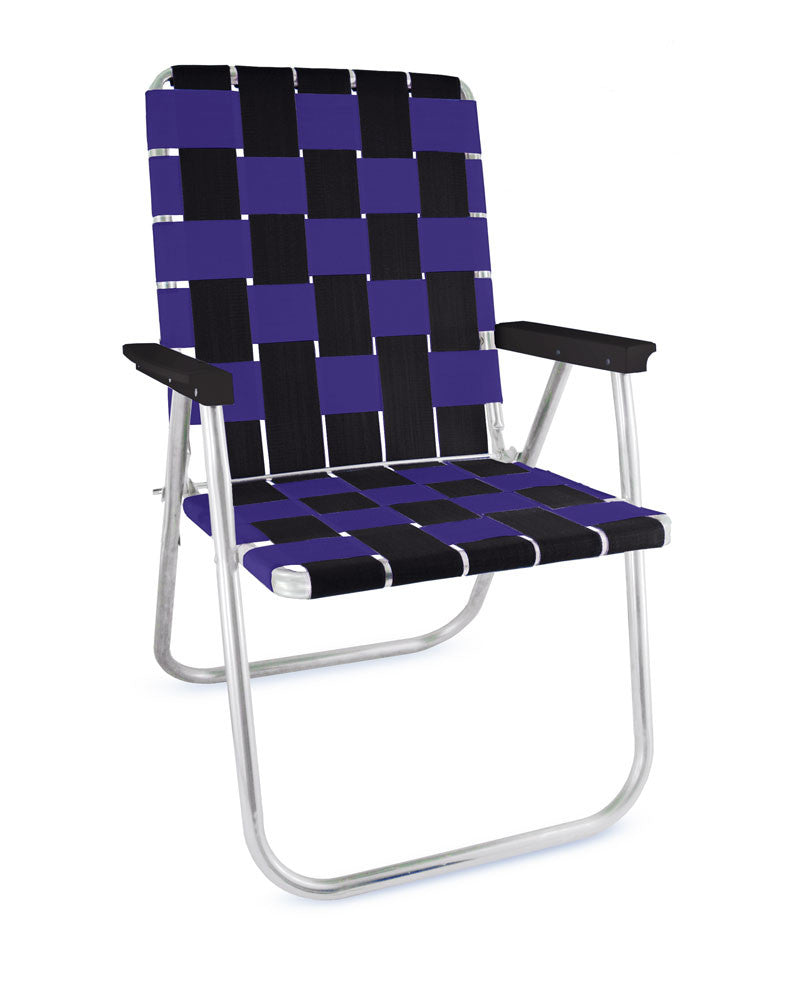 Black/Purple Folding Aluminum Lawn Chair Deluxe