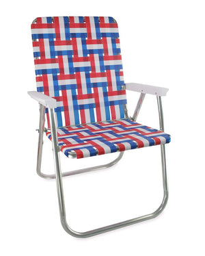 Lawn Chair USA Old Glory Folding Aluminum Webbing Classic Chair with White Arms