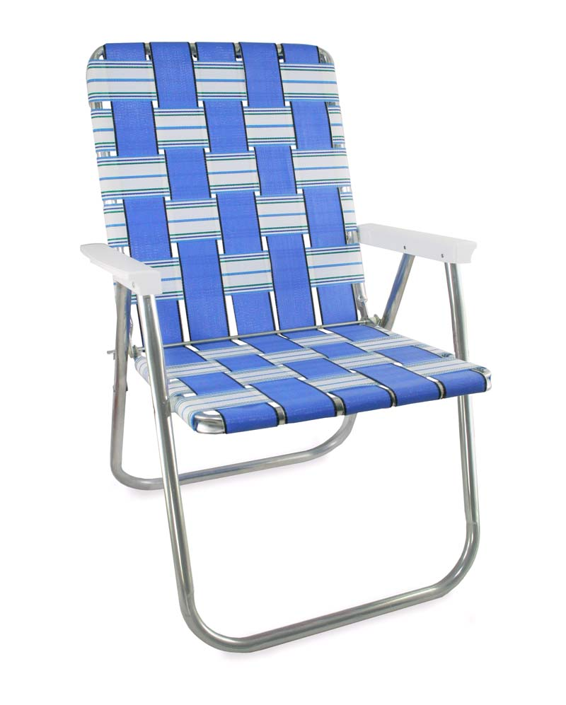 Lawn Chair USA Blue Sands Aluminum Webbing Classic Chair with White Arms