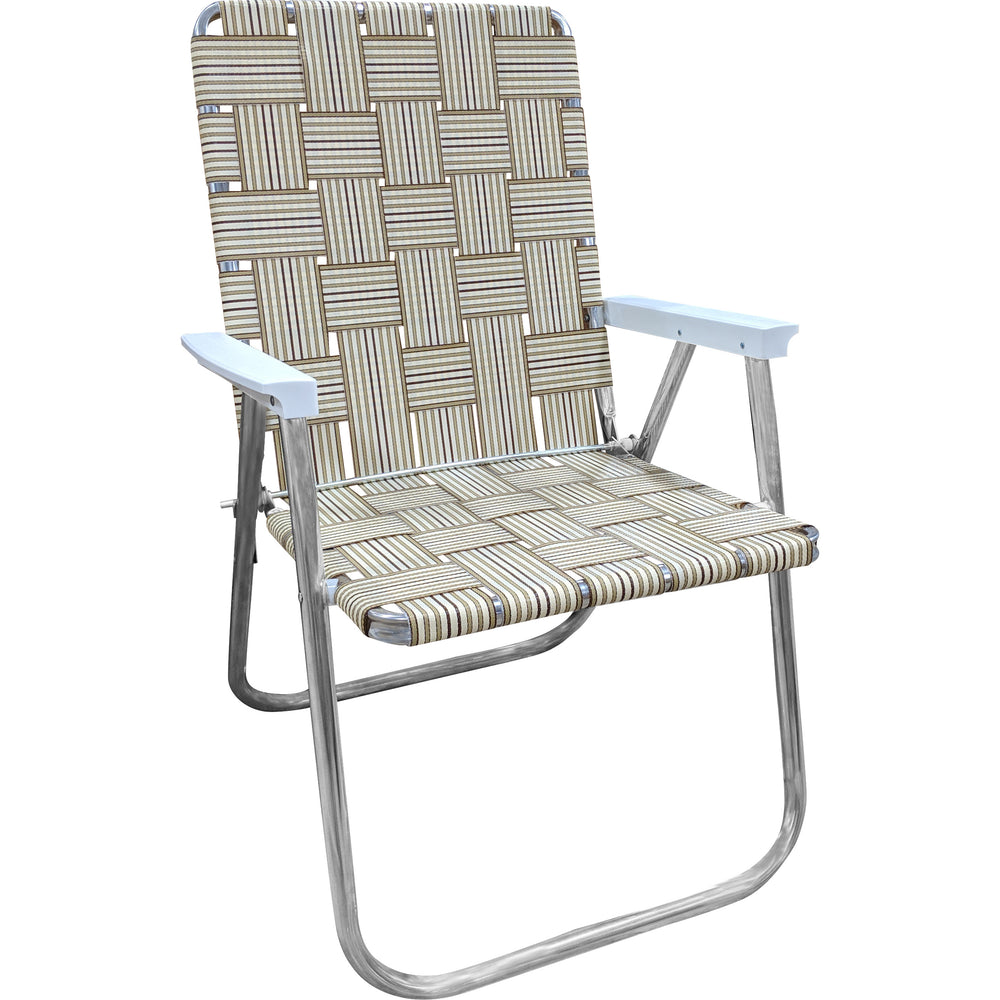 Tan Stripe Aluminum Folding Webbing Strap Chair