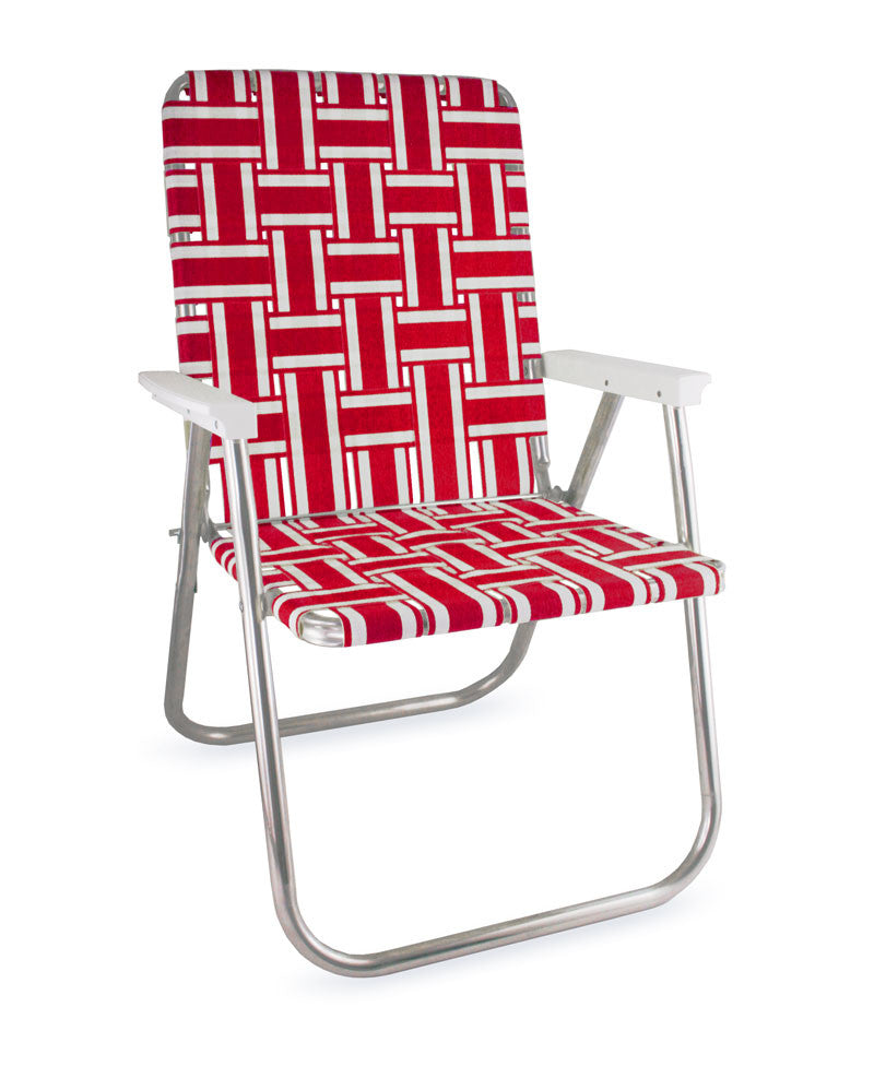 Red and White Stripe Folding Aluminum Webbing Lawn & Beach Chair Deluxe