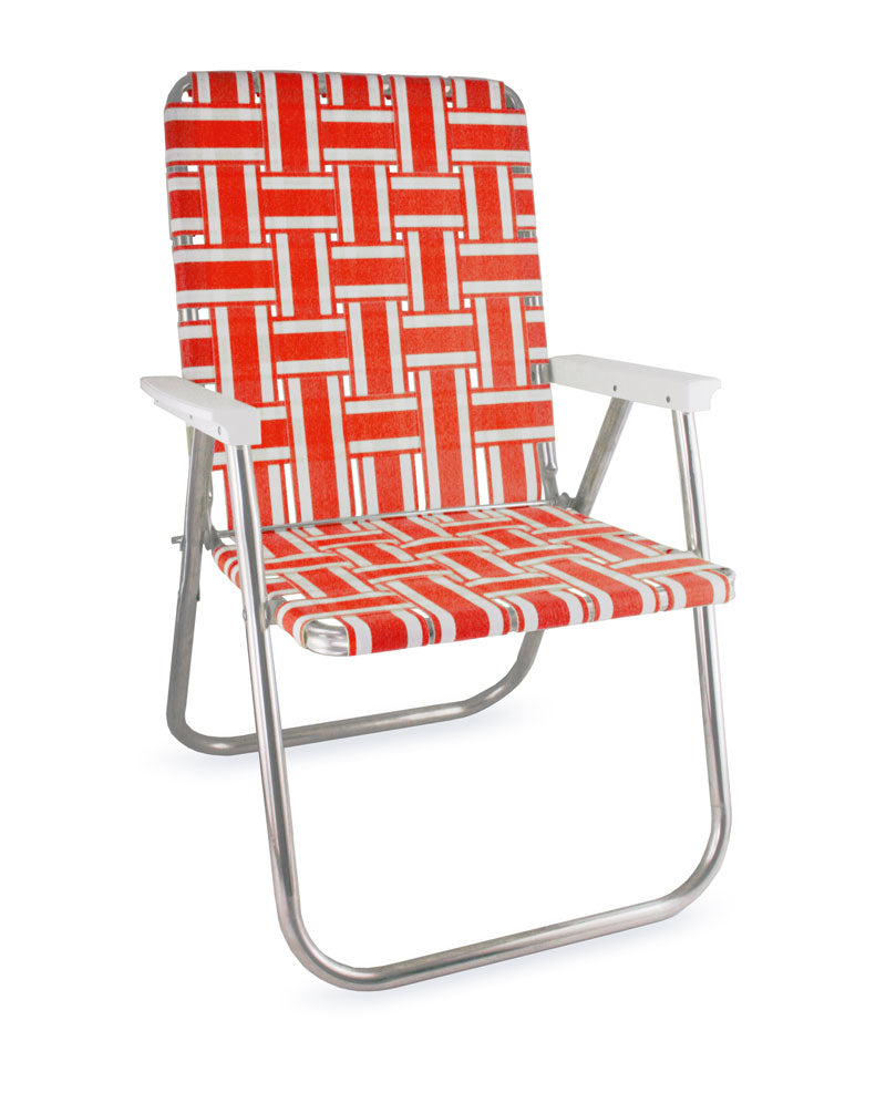 Lawn Chair USA Orange and White Stripe Folding Aluminum Webbing Classic Chair