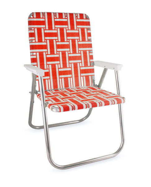 Orange and White Stripe Folding Aluminum Webbing Lawn Chair Deluxe