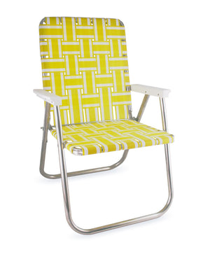 Yellow and White Stripe Folding Aluminum Webbing Lawn & Beach Chair Deluxe