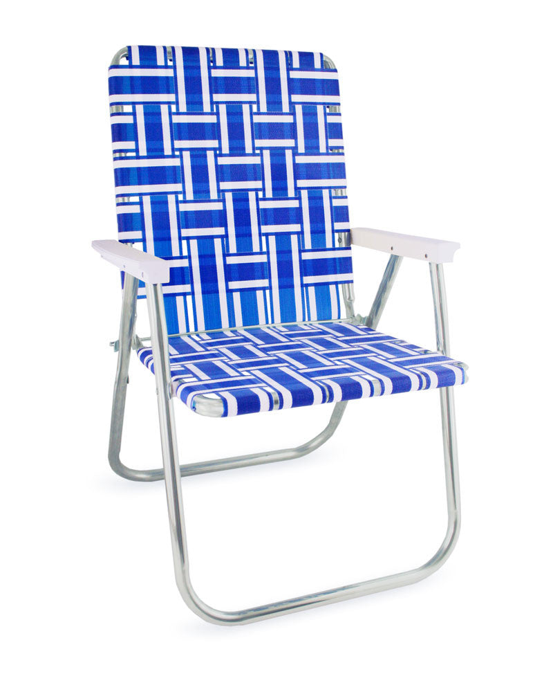 Blue and White Stripe Folding Aluminum Webbing Lawn Chair Deluxe