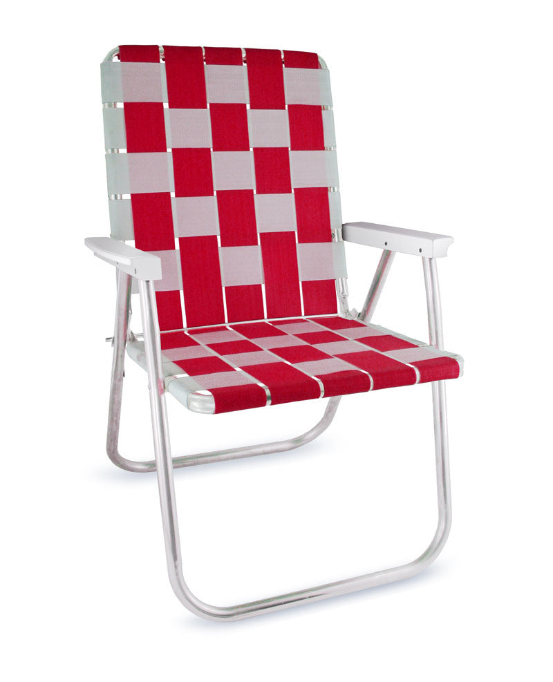 Red/White Folding Aluminum Webbing Lawn & Beach Chair Deluxe