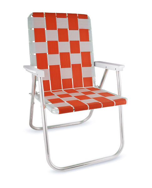 Orange/White Folding Aluminum Webbing Lawn Chair Deluxe