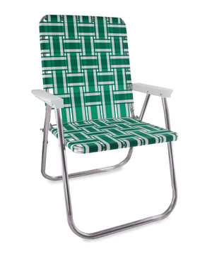 Green and White Stripe Folding Aluminum Webbing Lawn Chair Deluxe