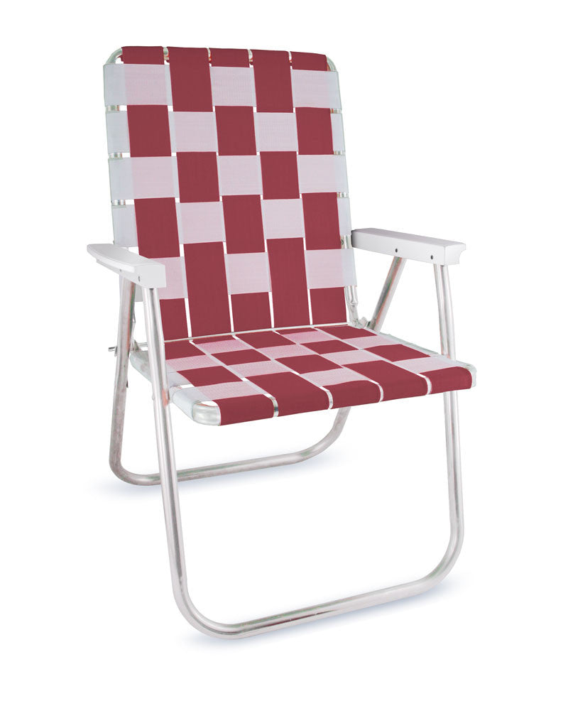 Burgundy/White Folding Aluminum Webbing Lawn Chair Deluxe